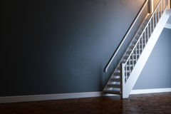White wooden stairs in new black interior with wooden antique pa. Rquet 3D render Stock Images