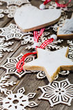 White wooden star and heartand wooden snowflake Royalty Free Stock Images