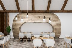 White and wooden stylish cafe interior vector illustration