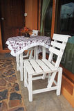 White wooden table and chair Royalty Free Stock Image