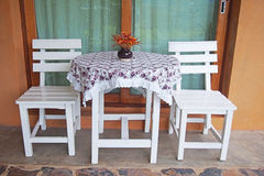 White wooden table and chair Royalty Free Stock Photography