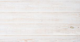 White wooden texture table background. Wood empty floor with copy space. Template desk top view and mock up. Banner.  stock image