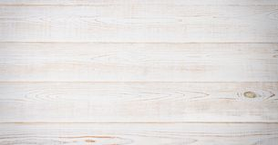 White wooden texture table background. Wood empty floor with copy space. Template desk top view and mock up. Banner.  royalty free stock images