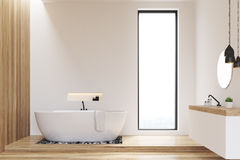 White and wooden walls bathroom Royalty Free Stock Photo
