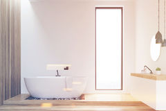 White and wooden walls bathroom, toned Stock Images