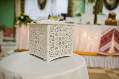 White wooden wedding box for gifts.  royalty free stock photo
