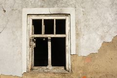 White wooden window in the old house with broken glass Stock Photo