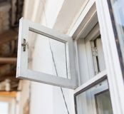 White wooden window pane. In the park in nature Royalty Free Stock Photo