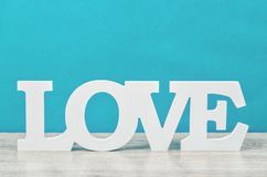 Wooden word love. stock images