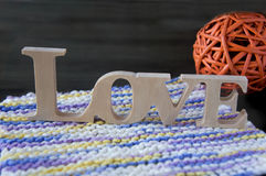 White wooden word love on the table Royalty Free Stock Photos