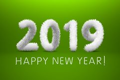 White wool 2019 Happy New Year. green background. Vector illustration. Art vector illustration