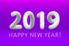 White wool 2019 Happy New Year. purple background. Vector illustration. Art vector illustration