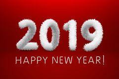 White wool 2019. Happy New Year. red background. Vector illustration. Art royalty free illustration