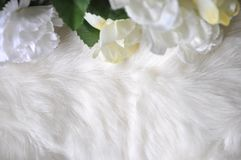 White Wool Texture with Artificial Flowers Royalty Free Stock Images