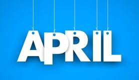 White word APRIL on blue background. New year illustration Stock Image