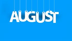 White word AUGUST - word hanging on the ropes on blue background. vector illustration