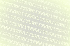 White word background. Background of white with angled lines of the word white in repetition Royalty Free Stock Photo