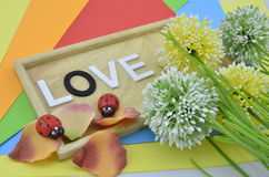 White word and black O on colourfull background.green, yellow and white artificial flower placed on right. red ladybird Stock Images