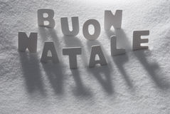 White Word Buon Natale Mean Merry Christmas On Snow Royalty Free Stock Image