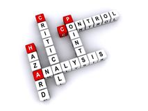 HAACP analysis. White word dice spelling HAZARD ANALYSIS CRITICAL CONTROL POINTS in crossword form, the first letter of each highlighted with a red die (HACCP) royalty free illustration