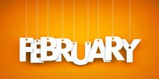 White word FEBRUARY on orange background. 3d illustration Royalty Free Stock Photos