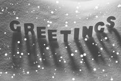 White Word Greetings On Snow, Snowflakes Stock Photos