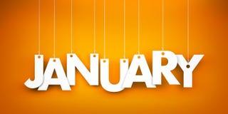 White word January on orange background. New year illustration. White word 2017 on blue background. New year illustration. 3d illustration Royalty Free Stock Image