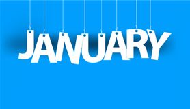 White word JANUARY - word hanging on the ropes on blue background. New year illustration. Stock Photos