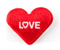 Love heart. White word love on red heart Royalty Free Stock Photography
