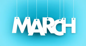 White word MARCH on blue background royalty free illustration