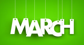 White word MARCH on green background. New year illustration Royalty Free Stock Photography