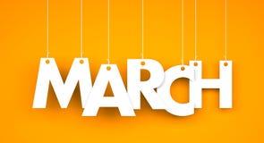 White word MARCH on orange background. New year illustration stock illustration
