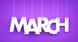 White word MARCH on purple background royalty free illustration