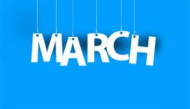 White word MARCH - word hanging on the ropes on blue background. 3d illustration Royalty Free Stock Photos