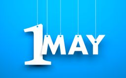 White word. 1 may suspended by ropes on blue background. Illustration for the may holidays Royalty Free Stock Photo