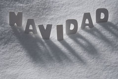 White Word Navidad Means Christmas On Snow, Snowflakes Royalty Free Stock Photography