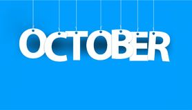 White word OCTOBER - word hanging on the ropes on blue background. 3d illustration Stock Photos