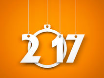 White word 2017 on orange background. New year illustration. 3d illustration Stock Image