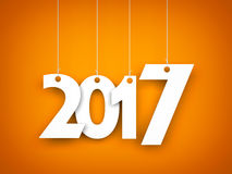 White word 2017 on orange background. New year illustration. 3d illustration royalty free illustration