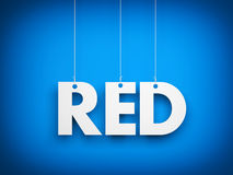 White word RED on blue background. 3d illustration Royalty Free Stock Photos