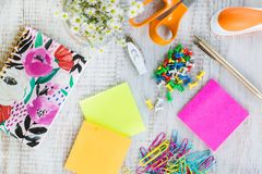 Office Supplies on White Wood Work Desk royalty free stock photos