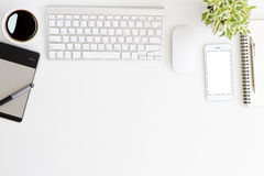 White workspace desk on top Royalty Free Stock Photos