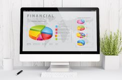 White workspace with graphics finances on screen. 3d rendering web financial graphics on computer. All screen graphics are made up Stock Photo