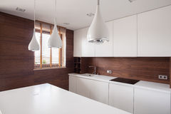 White worktop in bright kitchen Royalty Free Stock Image