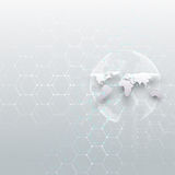White world globe, connecting lines and dots, gray color background. Chemistry pattern, hexagonal molecule structure Royalty Free Stock Photography