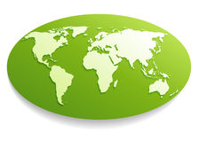 White world map. White Paper World map on green. Vector file stock illustration