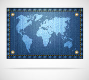 White world map on blue jeans background Royalty Free Stock Photos