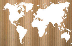 White world map on corrugated  paper Royalty Free Stock Images