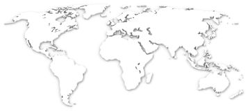The white world map Stock Photos