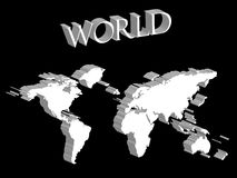 White world map expanded on black background Royalty Free Stock Photography